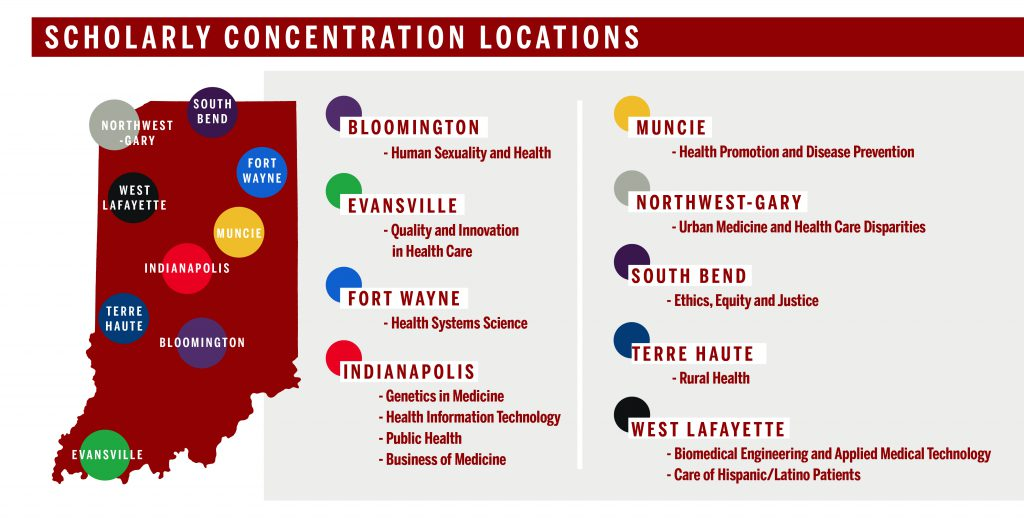 Map and list of Scholarly Concentration locations throughout the state of Indiana