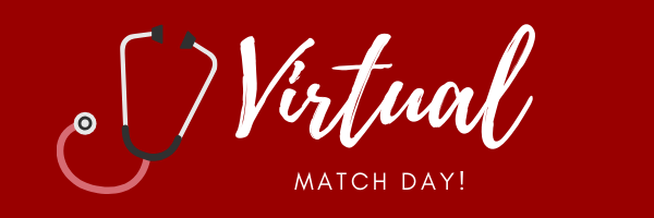 "Red background with white text. Icon of stethoscope on the left side. Large word in script: ""Virtual"". Typed text below: ""Match Day!"""