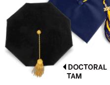 Black doctoral tam with gold tassel.